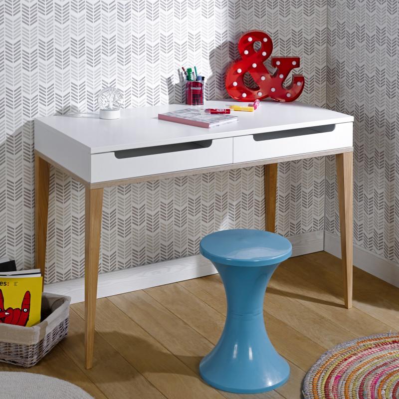 bureau a tiroirs 110x55 siki blanc