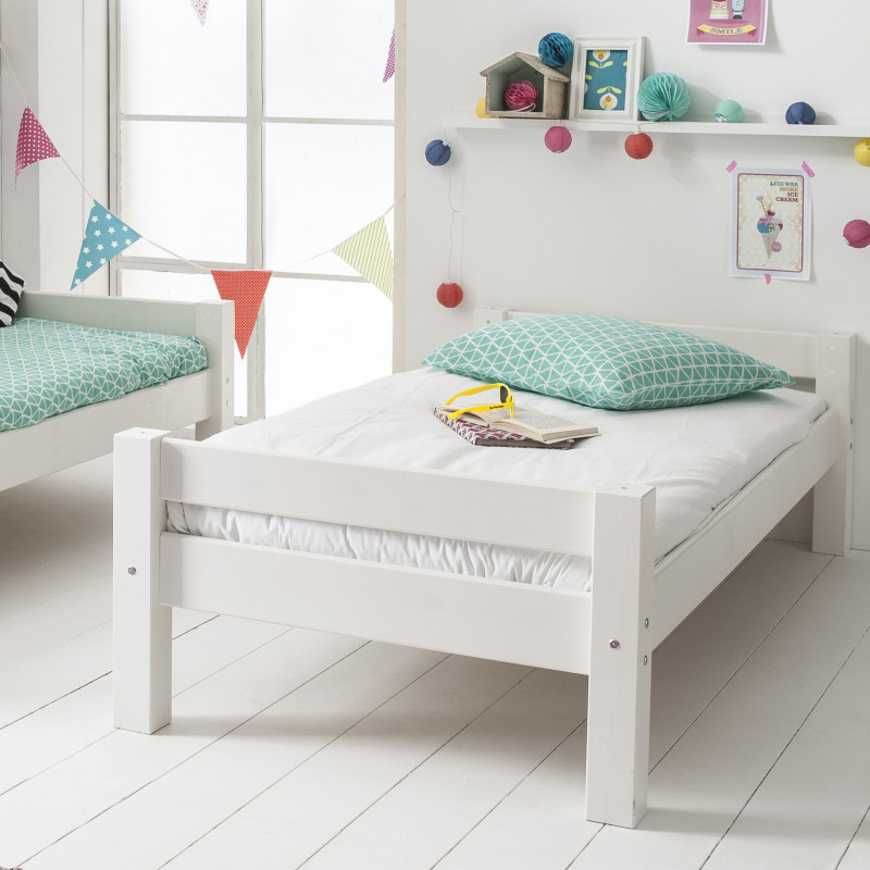 lit enfant bois massif 90x200 avec sommier
