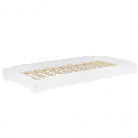 lit empilable pin massif 90x190 lucas blanc