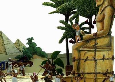 Zinnfiguren diorama – Trasporto statua faraonica a Giza