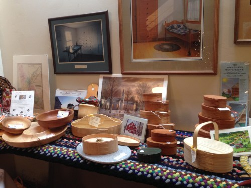 Some of the items available at the Museum Shop include art prints (framed and unframed), handcrafted Shaker containers and other items from New England crafters, card, braided rugs, novelty items, hand-turned bowls, cutting boards, baskets, and even dog treats!