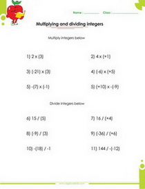 Algebraic Expressions Printable Worksheets With Integers