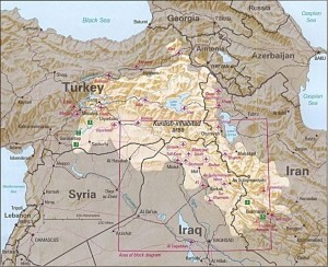 Kurdish-inhabited areas cross the national borders of Turkey, Syria, Iraq and Iran.