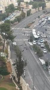 Scene of Jerusalem ramming terror attack. Photo: Twitter