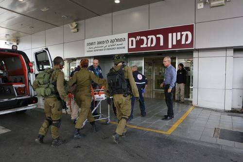 Two Israeli soldiers injured in Wednesday's Hezbollah attack along the Israel-Lebanon border arrive at the Rambam Health Care Campus in Haifa. Photo: Provided photo.