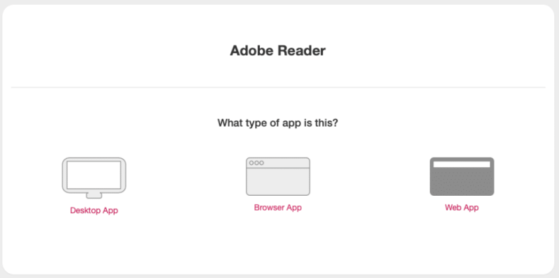 Enter the type of application you're testing