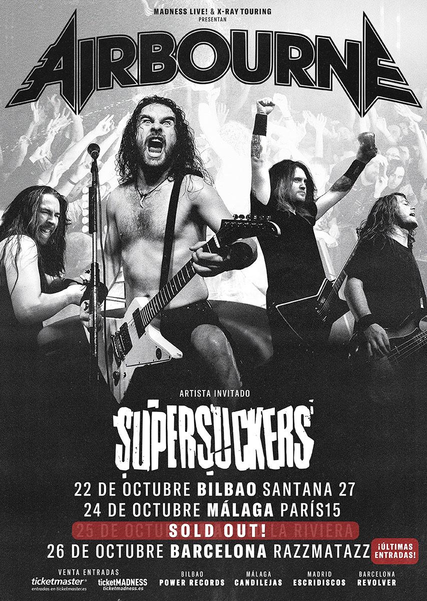 AIRBOURNE estarán actuando en Málaga el 24 de octubre acompañados de SUPERSUCKERS