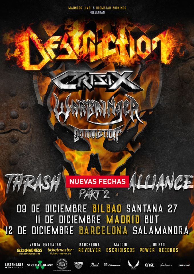 GIRA ESPAÑOLA DESTRUCTION + CRISIX + WARBRINGER + DOMINATION INC.