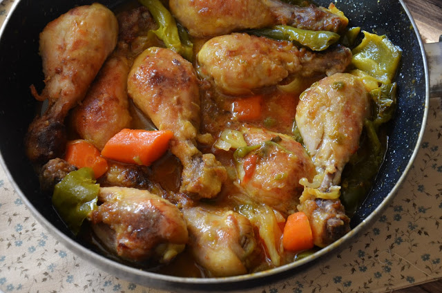 Muslitos de pollo al curry con verduras