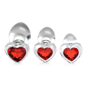 Booty Sparks - Red Heart Gem Glass Anal Plug Set