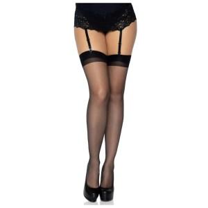 Lynn Sheer Backseam Thigh High Stockings - by Leg Avenue
