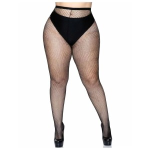 Risa Plus Size Nylon Fishnet Tights in Black - by Leg Avenue