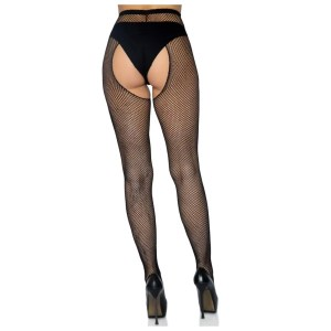 Ginny Fishnet Crotchless Pantyhose in One and Plus Sizes by Leg Avenue
