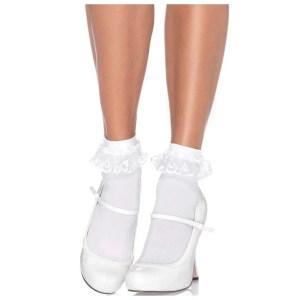 Diem White Lace Ruffle Anklet Socks by Leg Avenue