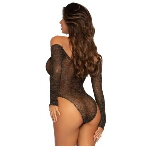 Long Sleeve Lurex Snap Crotch Bodysuit - by Leg Avenue