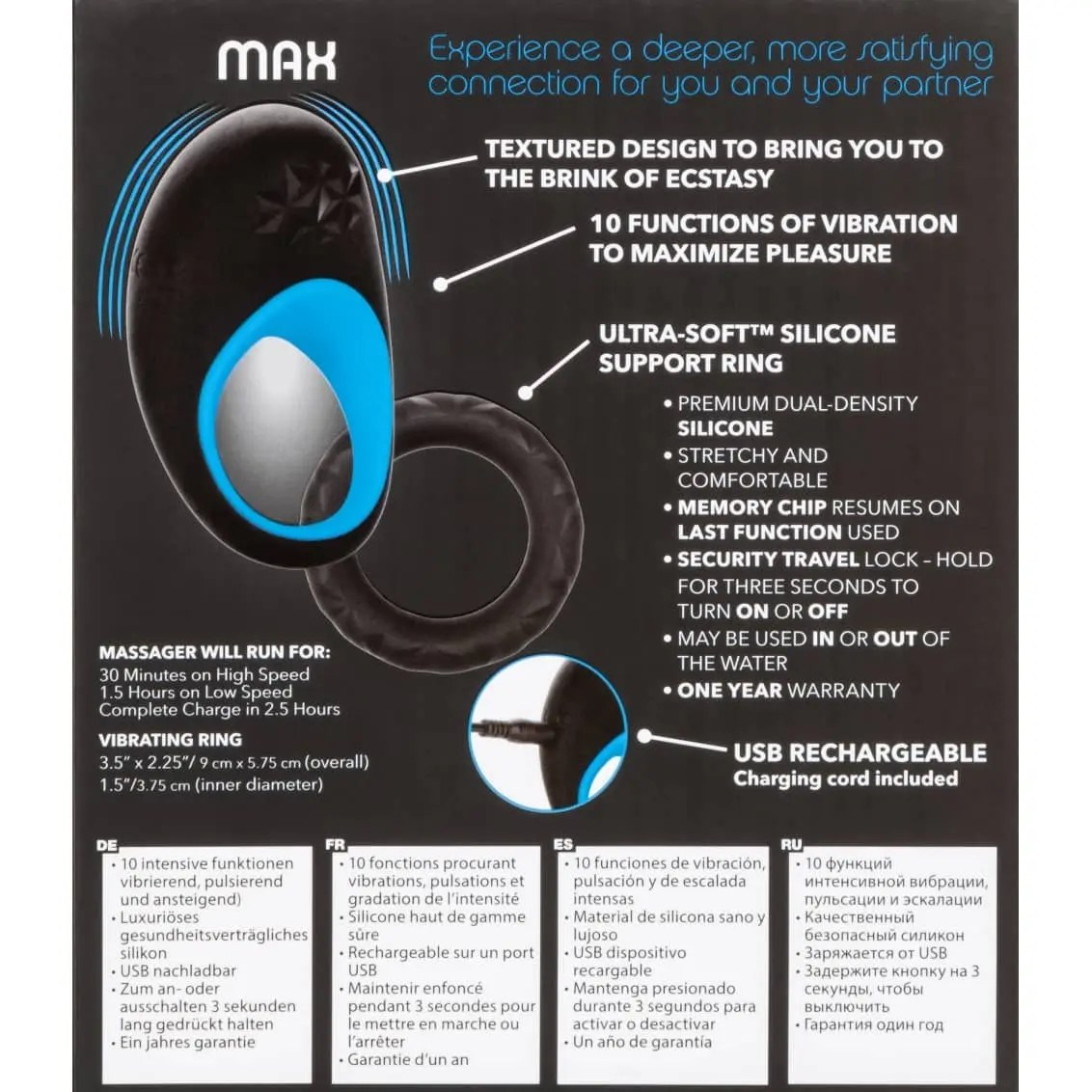 Link Up Max - Rechargeable Vibrating Silicone Dual Ring