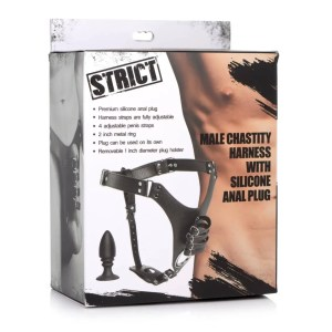 Strict - Male Chastity Harness with Silicone Anal Plug