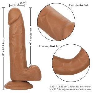 Size Queen 6-inch Realistic Dildo in 2 Colors – by Calexotics