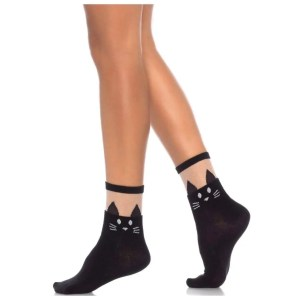 Daphne Black Cat Ankle Socks - by Leg Avenue
