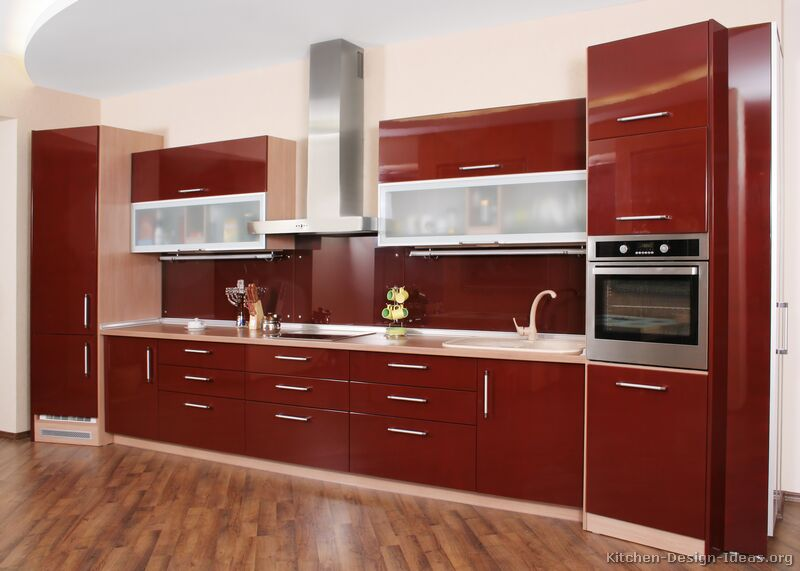 Incredible Kitchen Cabinet Ideas With Modern Red Angled Cabinets     Incredible Red Angled Cabinets