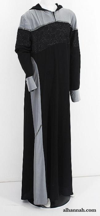 Crystal Trimmed Coat Style Abaya ab627