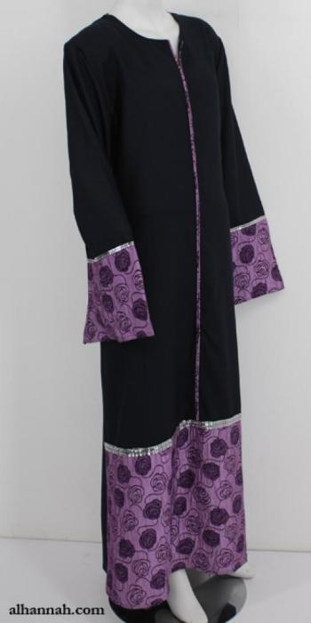 Classic Jordanian Abaya with Satin Trim ab635