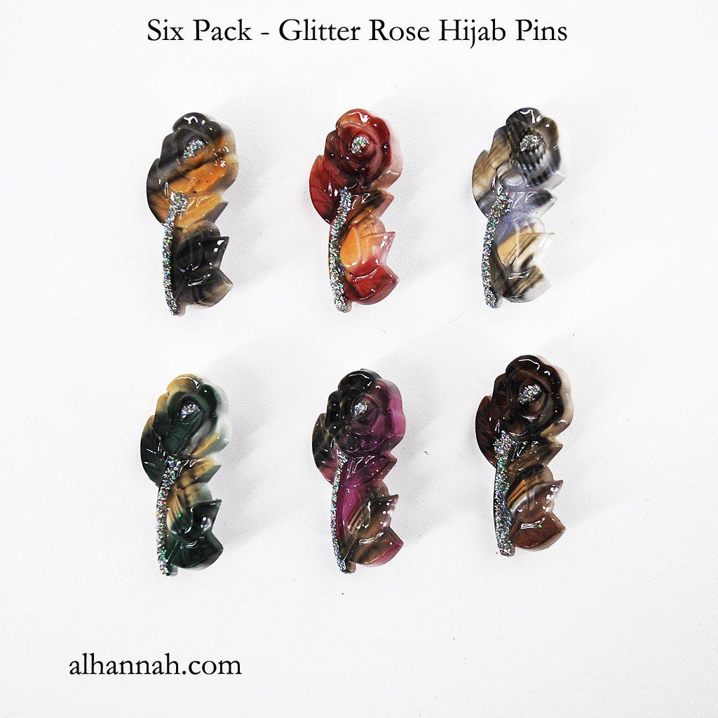 6 Pack - Glitter Rose Hijab Pins ac301