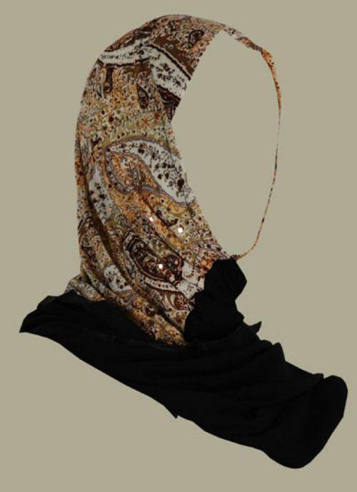 Kuwaiti style twist hijab hi1411