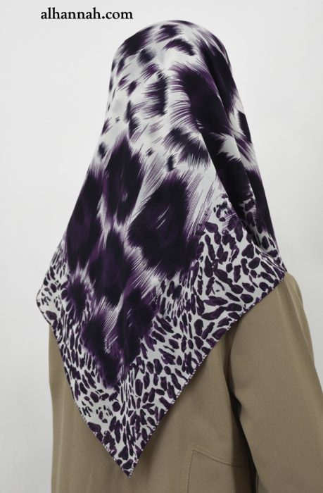 Contemporary Square Hijab with Leopard Print Border hi2035