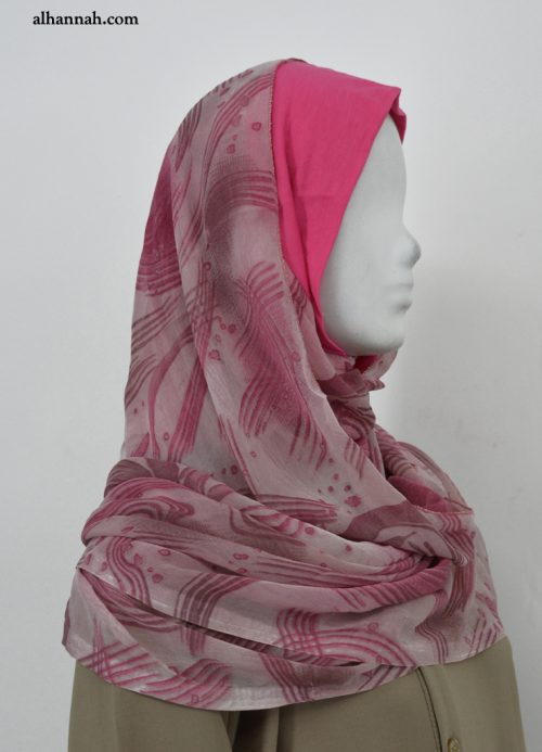 Pink Kuwaiti Style Wrap Hijab hi2039
