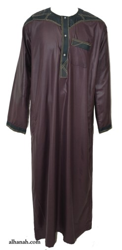 Mens Dishdasha with Contrasting Accent me690