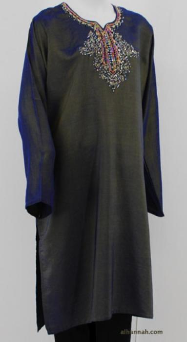 Iridescent Satin Embroidered Tunic st580