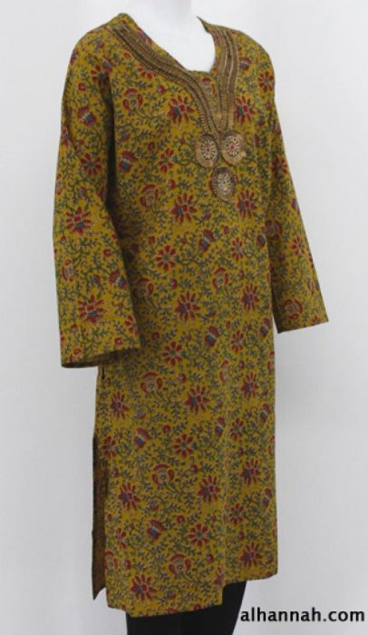 Floral Print Embroidered Cotton Tunic Top  st581