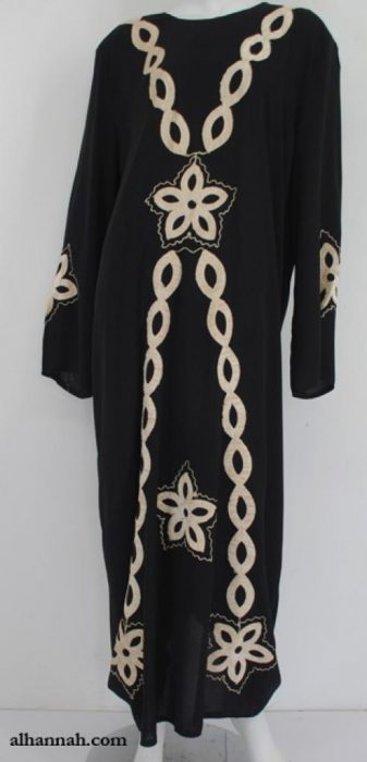Traditional Egyptian Thobe with Contrasting Applique th729