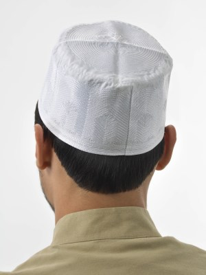MENS WHITE EMBROIDERED KUFI ME655