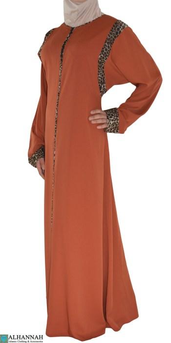 Fawziyah Orange Abaya with Leopard print ab675