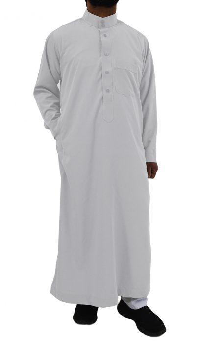 saudi style thobe traditional sleeves white