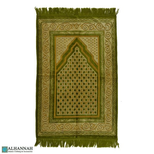 Muslim Prayer Rug with Scroll Border
