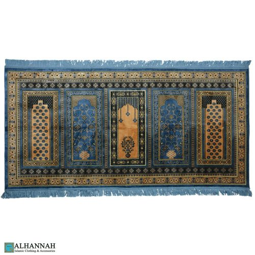 prayer rug 5 person turkish pale blue