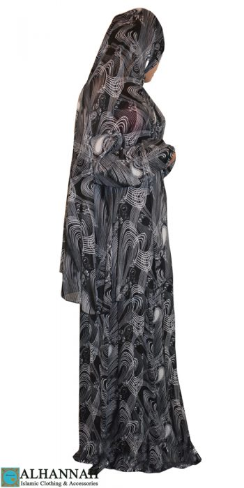 prayer outfit 2 piece black print
