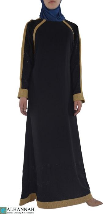 Shirin - Black and Tan Abaya Front