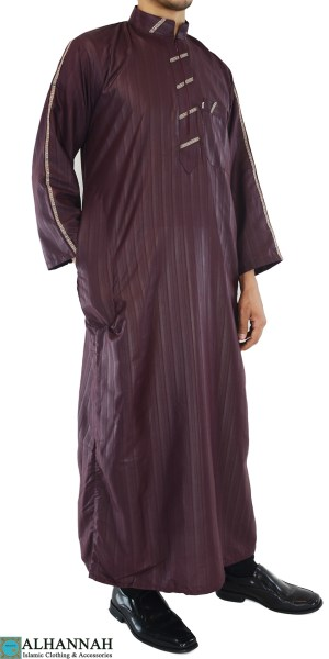 Amani Mens Thobe with Zipper up front and unique Embroidery me706