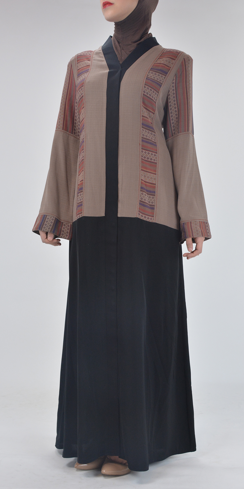Aztec Flare Abaya - Full Length Zipper ab692 (2)