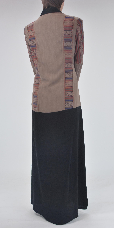 Aztec Flare Abaya - Full Length Zipper ab692 (4)