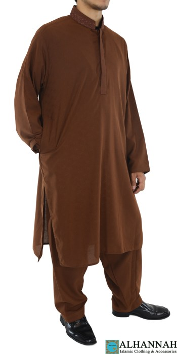 ME710 Badar Mens Brown Embroidered Button up Salwar Kameez