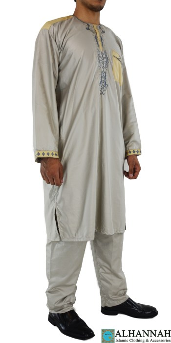 ME709 Farrokh Mens Ivory Embroidered Button up Salwar Kameez