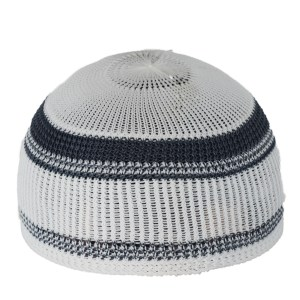 Knitted Kufi with Thin Solid Color Lines ME717 Marine