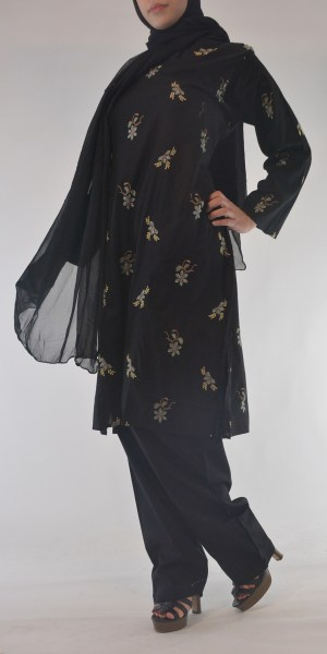 Lamees Salwar Kamees Butterfly Floral Pattern - Comfortable Soft Cotton SK1237 Black