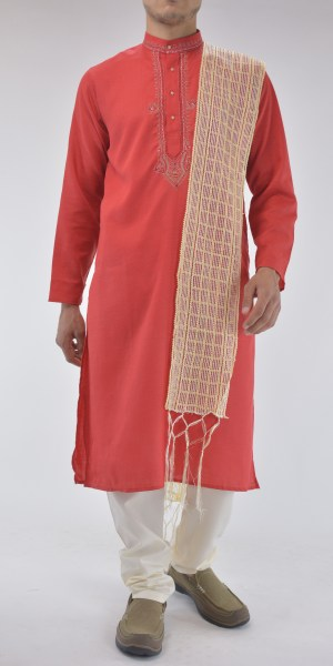 Traditional Cotton Kurta Pajama Suit with Frontal Embroidery Red