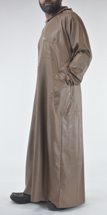Hooded Embroidered Velcro Moroccan Thobe Brown